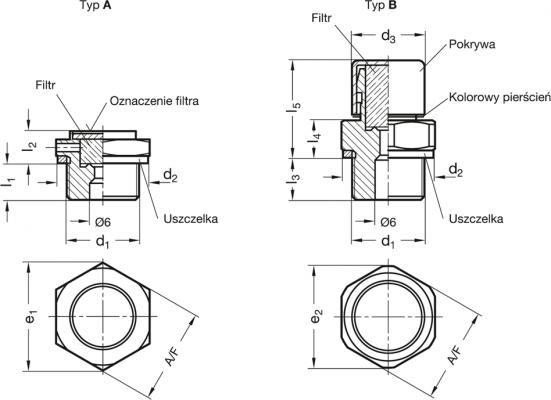 Korki oddechowe GN 884 - rysunek techniczny