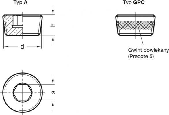 Korki gwintowane DIN 906-NI - rysunek techniczny