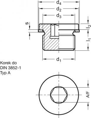 Korek gwintowany DIN 908-ST-M12x1.5-A - rysunek techniczny
