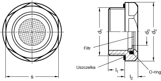 Korek oddechowy z sitem GN 7403-AL-M20x1.5-100 - rysunek techniczny