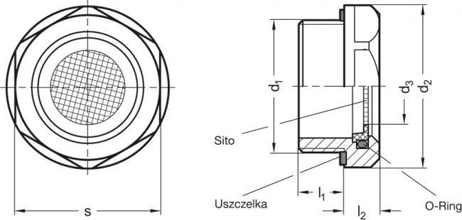Korki oddechowe z sitem GN 7403-NI - rysunek techniczny