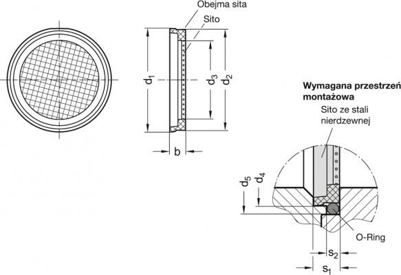 Korki oddechowe z sitem GN 7403.1 - rysunek techniczny