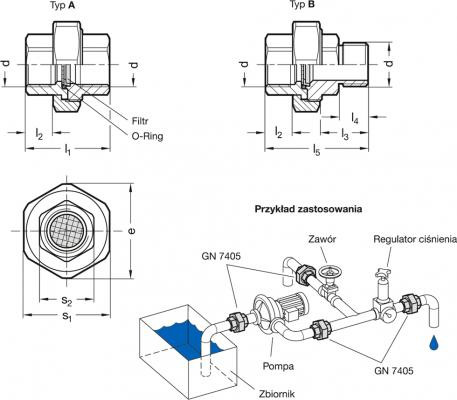 Korki oddechowe GN 7405 - rysunek techniczny