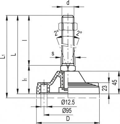 Stopy wahliwe z otworami do kotwienia LV.F-125-APS