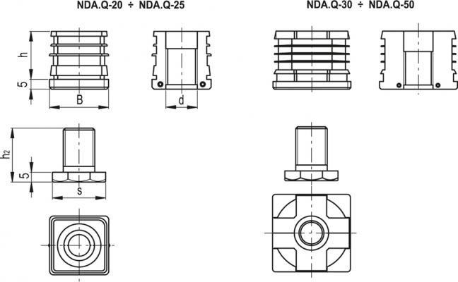 Kwadratowe wkładki do profili z regulowaną stopką NDA.Q