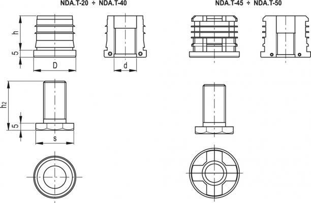 Okrągłe wkładki do profili z regulowaną stopką NDA.T