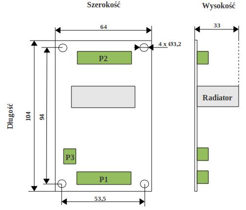 Wymiary sterownika SSK-B01