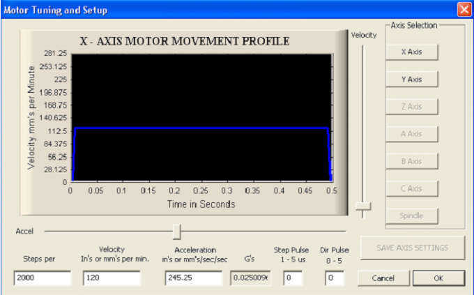 Okno konfiguracyjne zakładki Dostrajanie silników