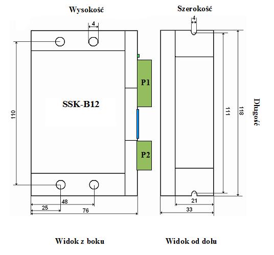 Wymiary sterownika SSK-B12