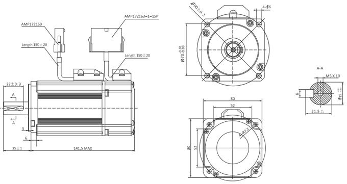 Wymiary mechaniczne EL5-M0750-1-32