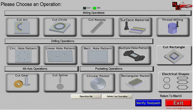 Wybór operacji w programie Mach