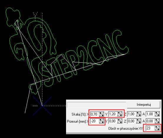 Przykładowy zestaw konwersji programu Step 2 CNC
